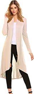 Women's Casual Long Open Front Drape Lightweight Duster High Low Hem Maxi Long Sleeve Cardigan with Pocket(S-3XL)