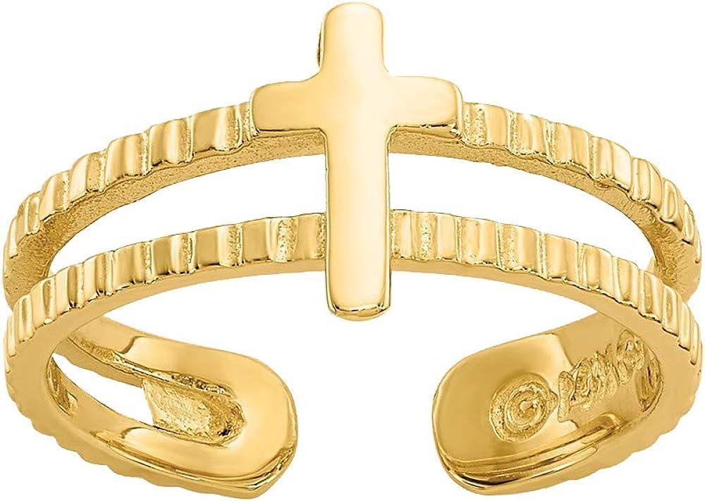 Nina's Jewelry Box 14k Yellow Gold Cross Toe Ring