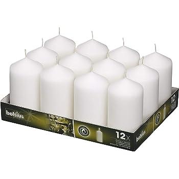 Smokeless 10-inch Tall Burn Burning 7.5 Hours Bolsius White Dinner Candles