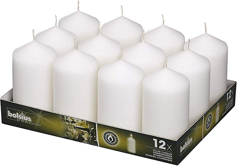 BOLSIUS White Pillar Candles 40 Long Burning Hours Candle Set 5 Inch X 2 75 Inch Dripless Candle Perfect For Wedding Candles Parties And Special Occasions