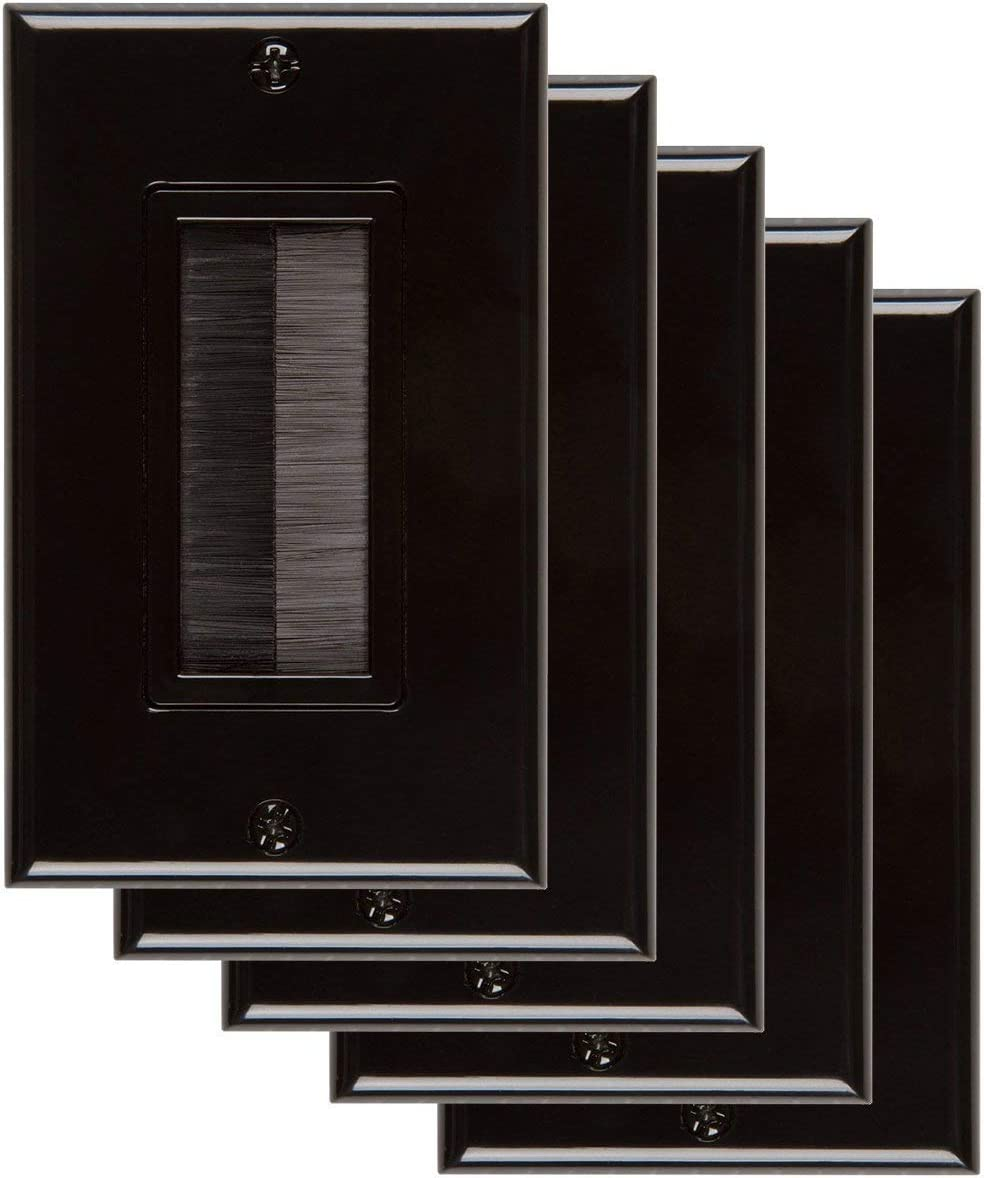 1-Gang Wall Plate 5 Pack Black Opening Los Angeles Mall Style Throu Pass Ranking TOP13 Brush
