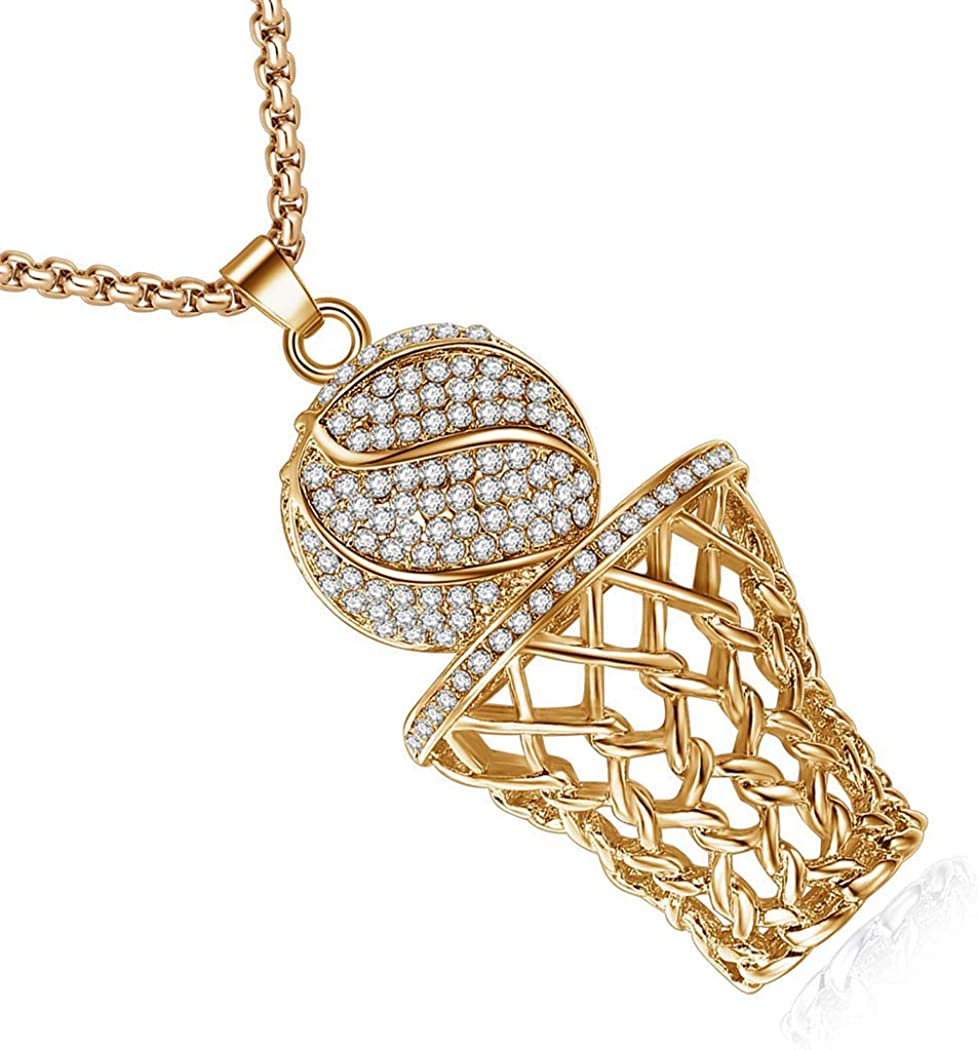 Chengxun Hiphop Cubic Zirconia Big Basketball Pendant Box Chain Necklace Sports Charm Jewelry for Women Men Boys Girls Basketball Lover Gift