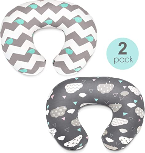 Stretchy Nursing Pillow Covers-2 Pack Nursing Pillow Slipcovers for Breastfeeding Moms,Ultra Soft Snug Fits On Infant...