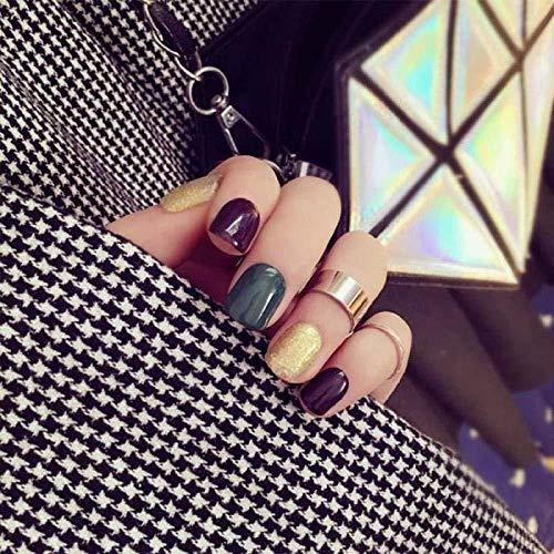 CSCH Faux ongles False Nails 24 pièces/boîte de 2G Glue Glitter Fake Nails Appuyez sur Dim Green Flat False Nails Glitter Blue Full Cover Nail Tips Ma