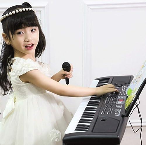 LIPENG-TOY Piano électronique pour Enfants pour débutant 1-3-6-12 Ans 61 Touches avec Microphone bébé Puzzle Early Education Musique Piano Jouet (Couleur   Noir)