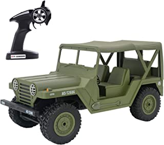 KELIWOW Military Jeep RC Car,1/14 Full Scale Proportion 4WD Off-Road Climbing Truck, 2.4G Army Radio Remote Control Buggy,15KM/h High Speed Rock Crawler for Adults Kids