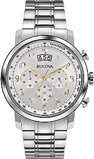 Bulova - clásico Vestido de los Hombres Reloj de Cuarzo con Esfera analógica y Plateado Correa de Acero Inoxidable de Plata 96B201