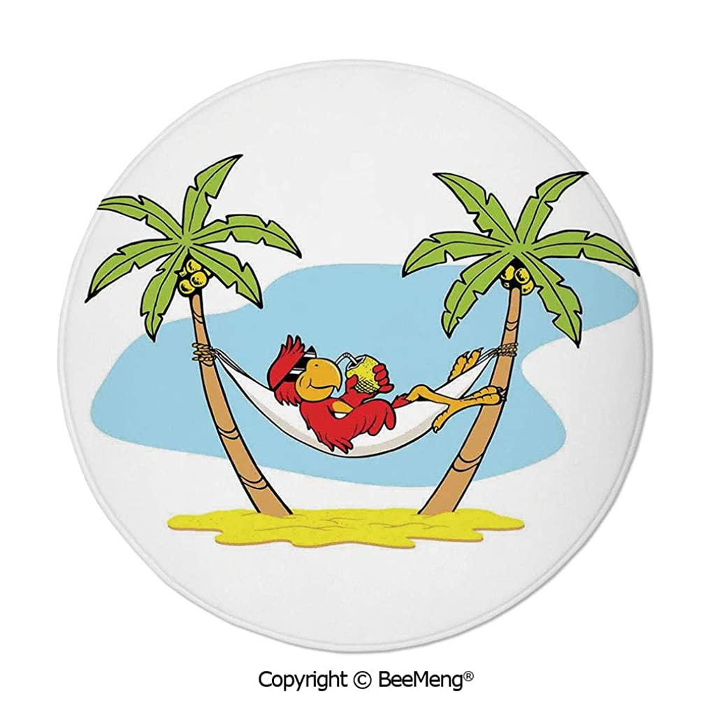 Diameter24 inch,Printing Round Rug,Mat Non-Slip Soft Entrance Mat Door Floor Rug Area Rug For Chair Living Room,Tropical,Funny Illustration of Parrot Lying Down in Hammock between Palm Tree Shade in T