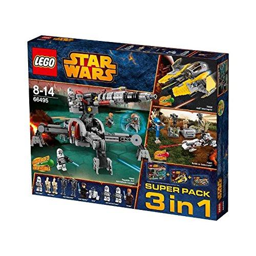 LEGO 66495 Star Wars Super Pack 3 in 1 bestehend aus: 75038 Jedi Interceptor, 75037 Battle on Saleucami, 75045 Republic AV-7 Anti-Vehicle Cannon