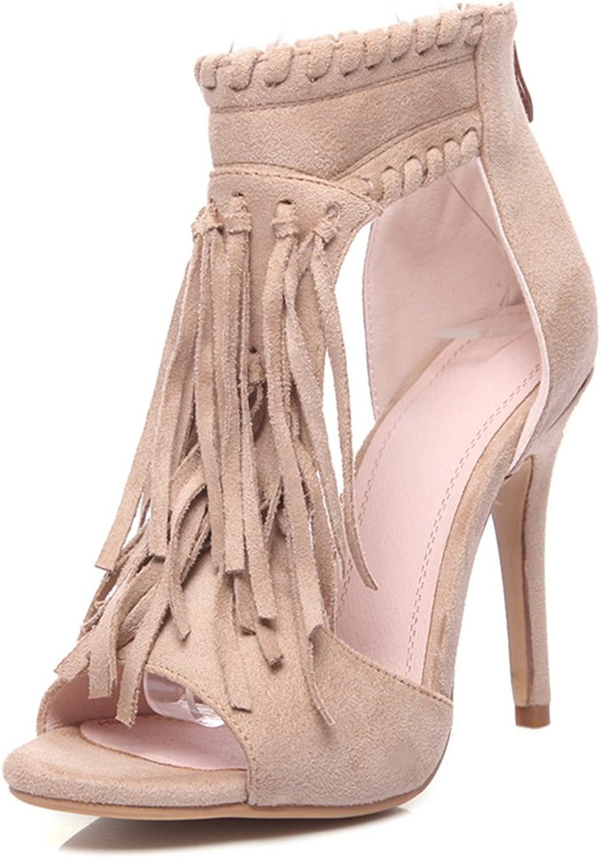 Genepeg Womens Sandals Gladiator Peep Toe Party High Thin Heels shoes Tassel Sandals Beige