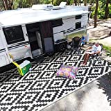 SAND MINE Reversible Mats, Plastic Straw Rug, Modern Area Rug, Large Floor Mat and Rug for Outdoors, RV, Patio, Backyard, Deck, Picnic, Beach, Trailer, Camping (9' x 12', Black & White Lattice)