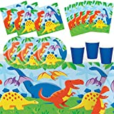 Party Shop Celebrate every day Feste Partito Compleanno Dinosauri Animali Ragazzo Ragazza 8 Bambini Compleanno Decorazione Stoviglie 1 Tovaglia 8 Piatti 8 Bicchieri 16 Tovaglioli 8 Sacchetti Regali