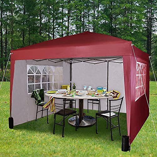 Pop-up Gazebo 3m x 3m with Sides 2 Wind Bars & 4 Weight Bags & Silver Protective Layer Waterproof Marquee Canopy WS (Red)