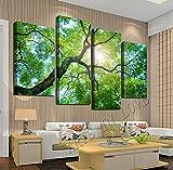 vbiubiuregre Lush greenTrees 4 Paneles/Juego de Arte de Pintura en Lienzo HD, modernWall Art el Regalo de Imagen para Sala de Estar (sin Marco)
