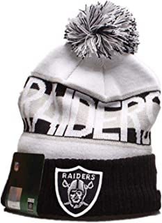 NFL Oakland Raiders Men's Winter Kintted hat Comfortable Stripe Kint Cap with POM Send Husband and Friends