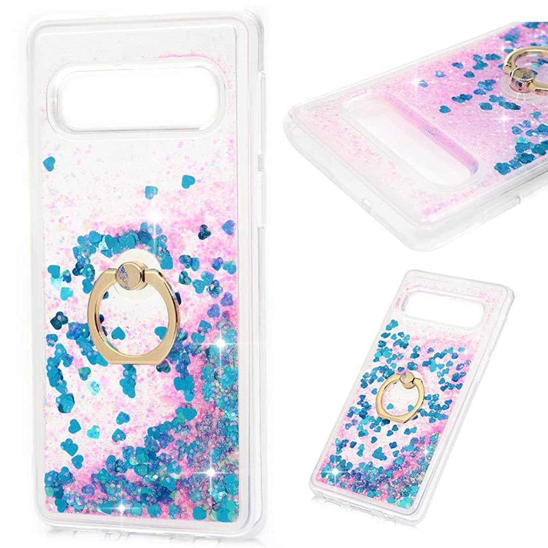 Galaxy S10E Case, Clear Liquid Glitter Case 360 Rotating Ring Kickstand Bling Shiny Sparkle Flowing Moving Hearts Drop Resistant Soft TPU Bumper Shell Slim Cover for Samsung Galaxy S10E Lite - Blue