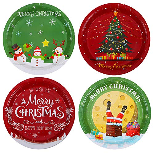 Aneco 60 Pieces Christmas Party Plates Paper Plates Disposable Plates Round Plates Party Supplies for Christmas Party, 9 Inches