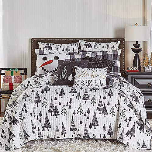 Levtex home - Northern Star Quilt Set - Full/Queen Quilt + Two Standard Pillow Shams - Christmas Tree - Black and White - Quilt Size (88x92in.) and Pillow Sham Size (26x20in.) - Reversible
