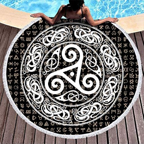 MINNOMO Toalla de Playa Redonda y Duradera, borlas, Negra, Celta, trisquel, Espiral, Raven, círculo, Nudos, Estampado Total, étnico, Flecos Redondos, Blanco, 150 cm