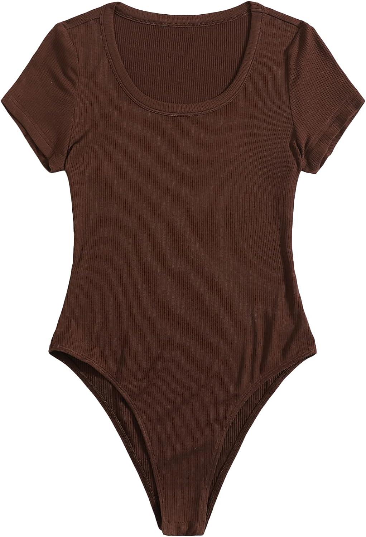 SweatyRocks Women's Short Sleeve Bodysuit Top Scoop Neck Ribbed Knit Jumpsuit