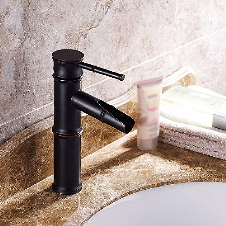 MNLMJ SpülbeckenhahnModerne einfache kupferne heie und kalte Spülbecken Wasserhhne Küchenarmatur Retro schwarz Bronze Einhand-Einloch-Wasserfall Wasserhahn Geeignet für alle Badezimmer-Spülbecken