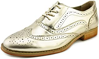 Wanted Shoes Womens Babe Almond Toe Oxfords, Gold, Size 8.5