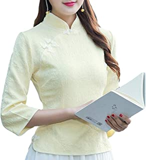 Frieed Womens Tops Cheongsam Chinese Slim Fit 3/4 Sleeve Blouse Shirts