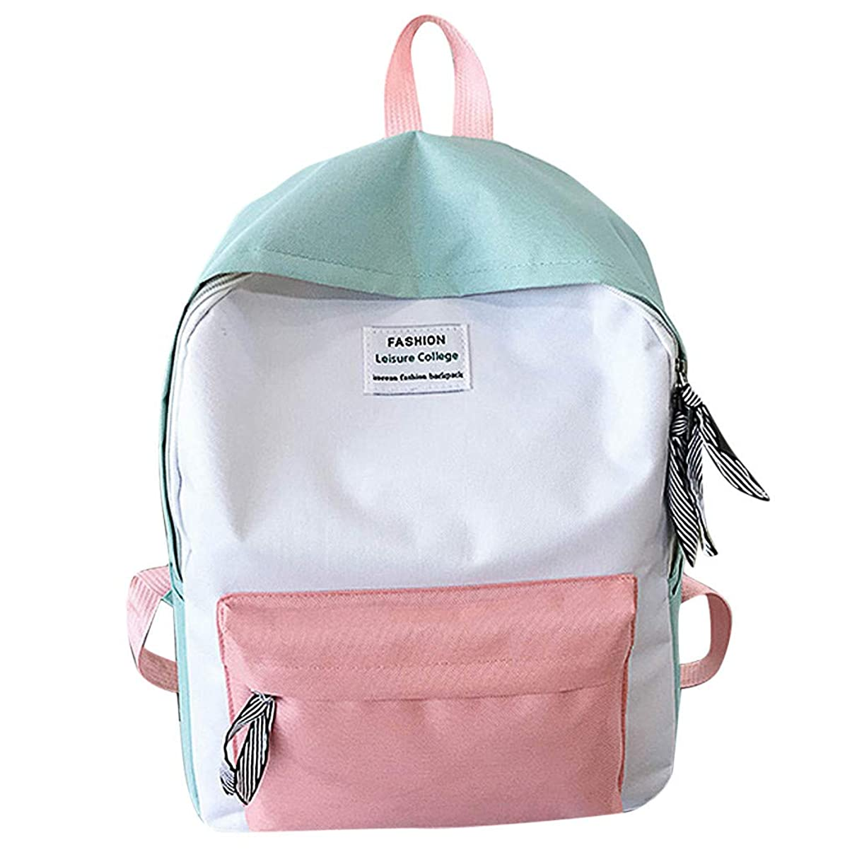 TIFENNY Couple Schoolbag Travel Hiking Bag Color Block Double Shoulder Backpack Collection Luminous Bag
