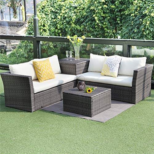 Wisteria Lane Outdoor Wicker Furniture Set, 4 Piece Patio Grey PE Rattan Sectional Couch Loveseat with Storage Table