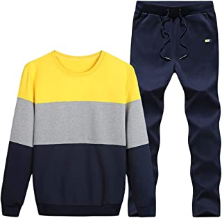 FSSE Mens Casual Running Sweatsuits Color Block 2 Pieces Outfits Tracksuits