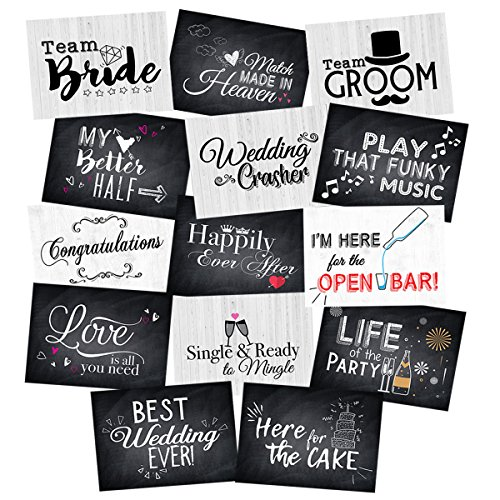 Wedding Photo Booth Double-Sided Jumbo Sized Cards, Prop Accessories Party Signs Kit– 14 Designs