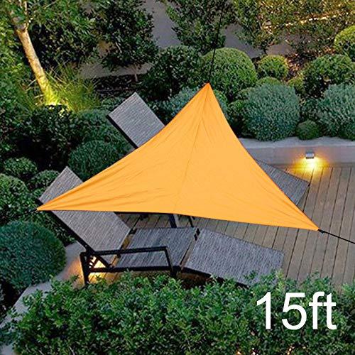 kangonline Sonnensegel mit UV-Schutz, dreieckig, regendicht, sonnenfest, inklusive Aufbewahrungstasche mit Seil, Orange, 15ft*15ft*15ft