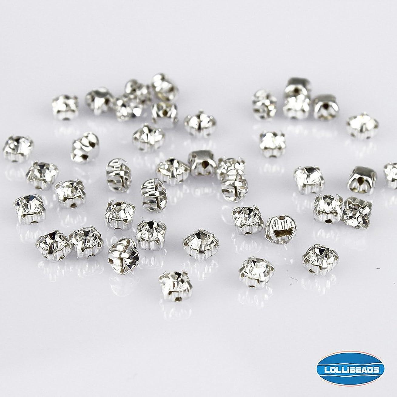 しつけローズミトンLolliBeads (TM) 手芸用デコレーションシルバー(銀色) 爪付きラインストーンビーズクリスタル装飾DIY水晶環状ミシンラインストーンチェコグラス,白色 4 mm (100個入れ)