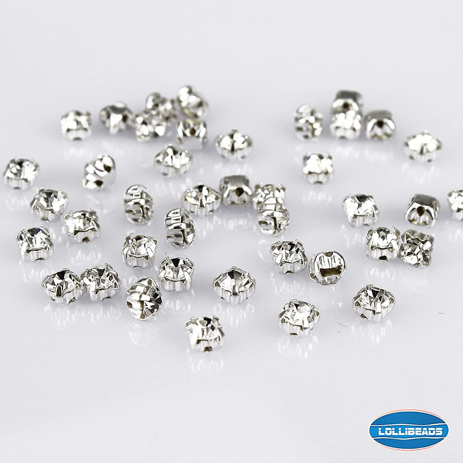 LolliBeads (TM) 100 Pcs Crystal Ringed Sew on Rhinestone Czech Glass with Silver Plated Brass Base Prongs Cup, White 5 mm