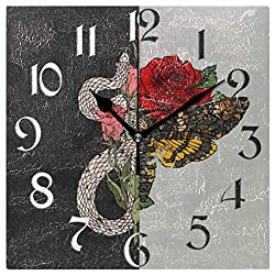 Naanle Animal Snake Butterfly Square Wall Clock, Black and White Silent Non Ticking Wall Clocks Battery Operated for Home Office School Decor