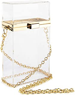 Acrylic Crossbody Clear Purse Bag, Clutch Purses for Women Evening with Gold Detachable Chain for Prom Concert Party