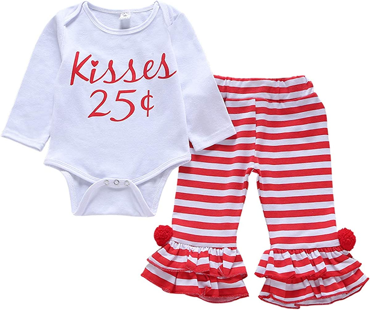 2Pcs Newborn Baby Girls Clothes Long Sleeves Romper Words Top Bodysuit Striped Pleated Pants Outfits Clothings