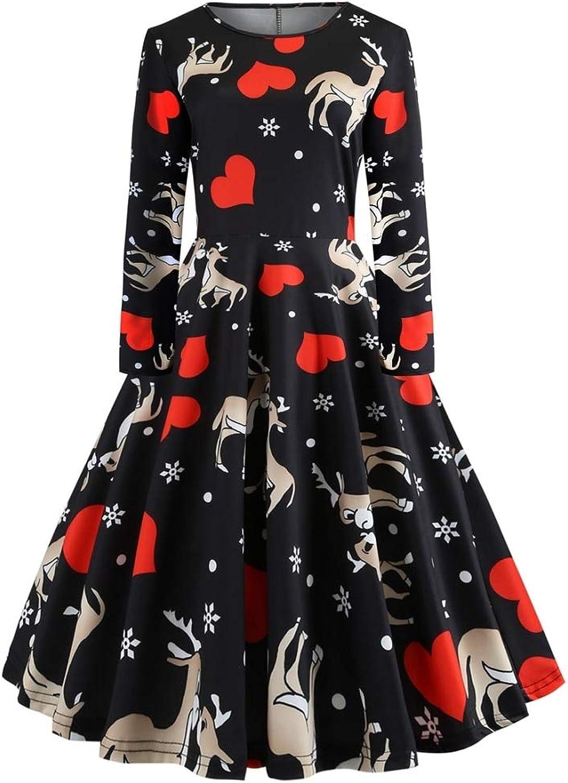 FUZHUANGHM Christmas Print Women Vintage Dress Rockabilly Swing Retro Dress Party Dress