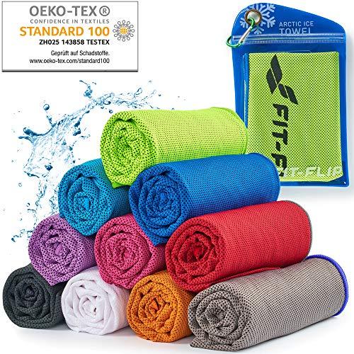Cooling Towel für Sport & Fitness – Mikrofaser Handtuch/Kühltuch als kühlendes Handtuch für Laufen, Trekking, Reise & Yoga – Cooling Towel – Farbe: neon grün-dunkel Blauer Rand, Größe: 100x30cm
