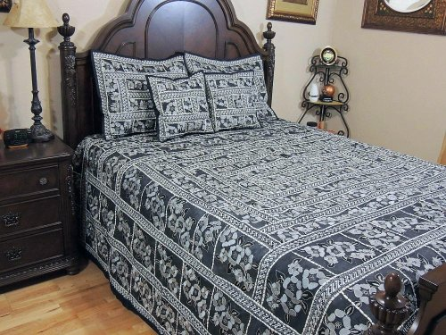 Review Of NovaHaat Decorative Indian Inspired Duvet Parsi Embroidery Tapestry Black Bedding Bedsprea...