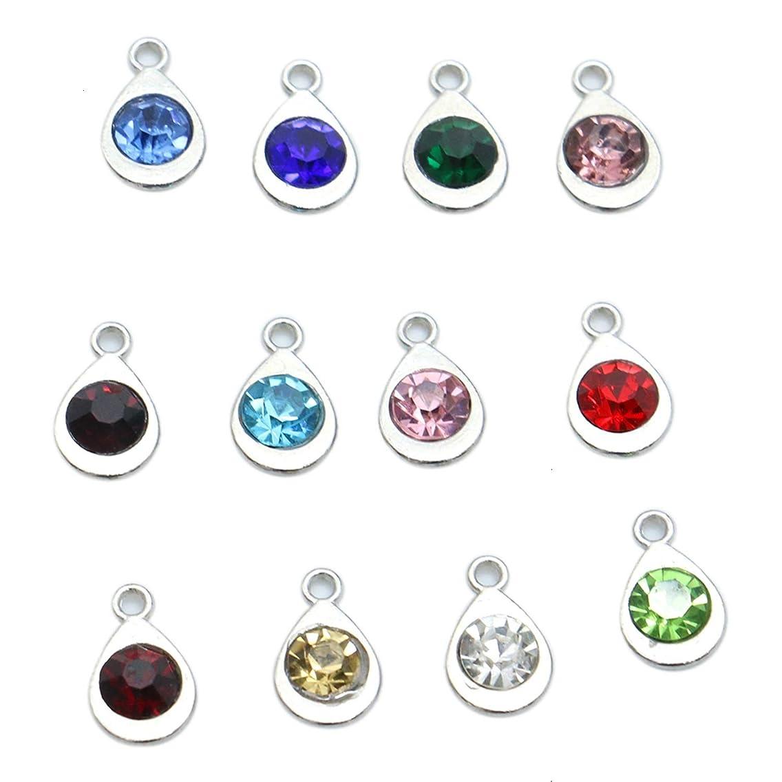 Monrocco 12 pcs Birthstone Charms Teardrop Water Drop Crystal Birthstone Charm Rhinesotone Beads for DIY Necklace Bracelet Jewelry Making