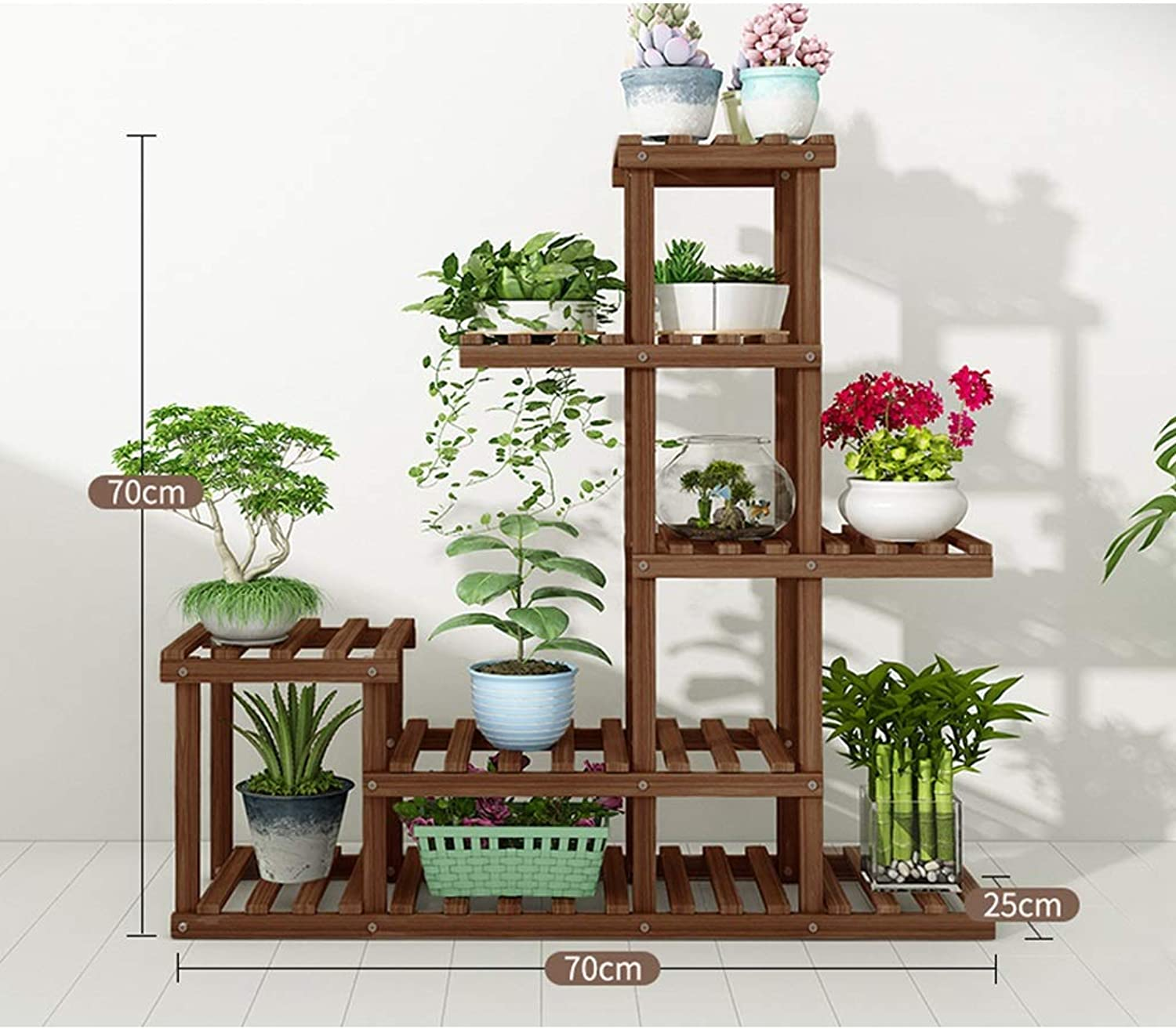 Wooden Flower Stands, Plant Stand Planter Display Indoor Outdoor Rack for Yard Decor Sturdy Construction (Size   70cm(L))