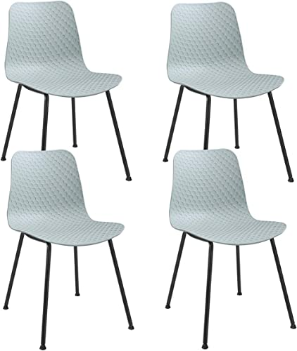 Giantex Modern Dining Chairs Set of 4, Modern Simple Kitchen Chairs w/Figured PP Main-Body and Metal Legs, Modern Stylish Dining Side Chair for Living Room, Dining Room, Bedroom(Green Tone)