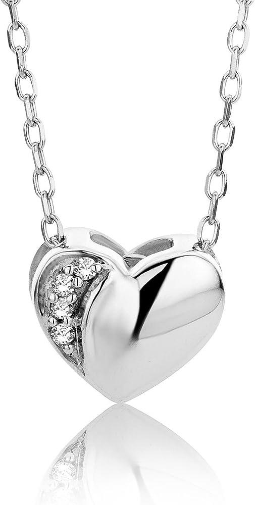 Orovi collana - pendente - ciondolo donna cuore con catena in oro bianco con diamanti taglio brillante oro 9 k OR8925N