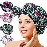 Gorra de ducha femenina, impermeable, reutilizable, especialmente grande, para cabello largo, capaz de ajustar la mayoría de los tamaños de la cabeza (4)