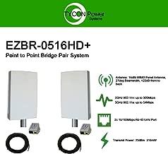 EZ-Bridge-LT5+ HD 100MB, 5GHz 802.11an Pt/Pt Secure Bridge Pair, Shield Outdr 75' CAT5 Cables + Surge Prot 24V PoE Ins, Plug n Play, 25dBm Out + 14dB Ant, 3mi Range, Wall/Pole(1-2) Mt Brckts, 4W Pwr
