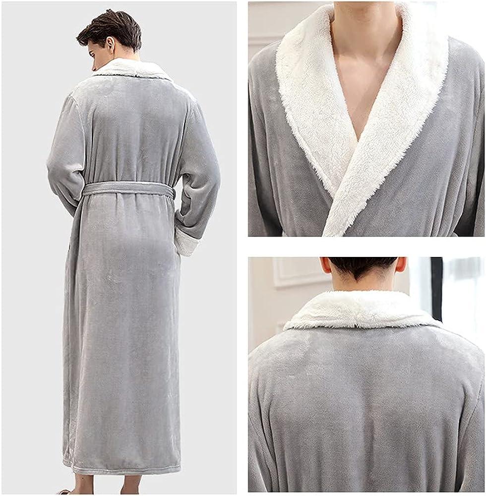 ZAPZEAL Long Robe Fleece Plush Bathrobe Winter Thick Kimono Robes for Women Men Housecoat Nightgown