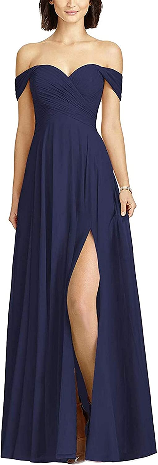 Free shipping anywhere in the Free shipping on posting reviews nation Boqia Navy Blue Bridesmaid Dress Long Shoulder Chiffon Pleat Off