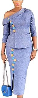VITryst 女性長い分割1肩スリムフィット高級スカートスーツセット