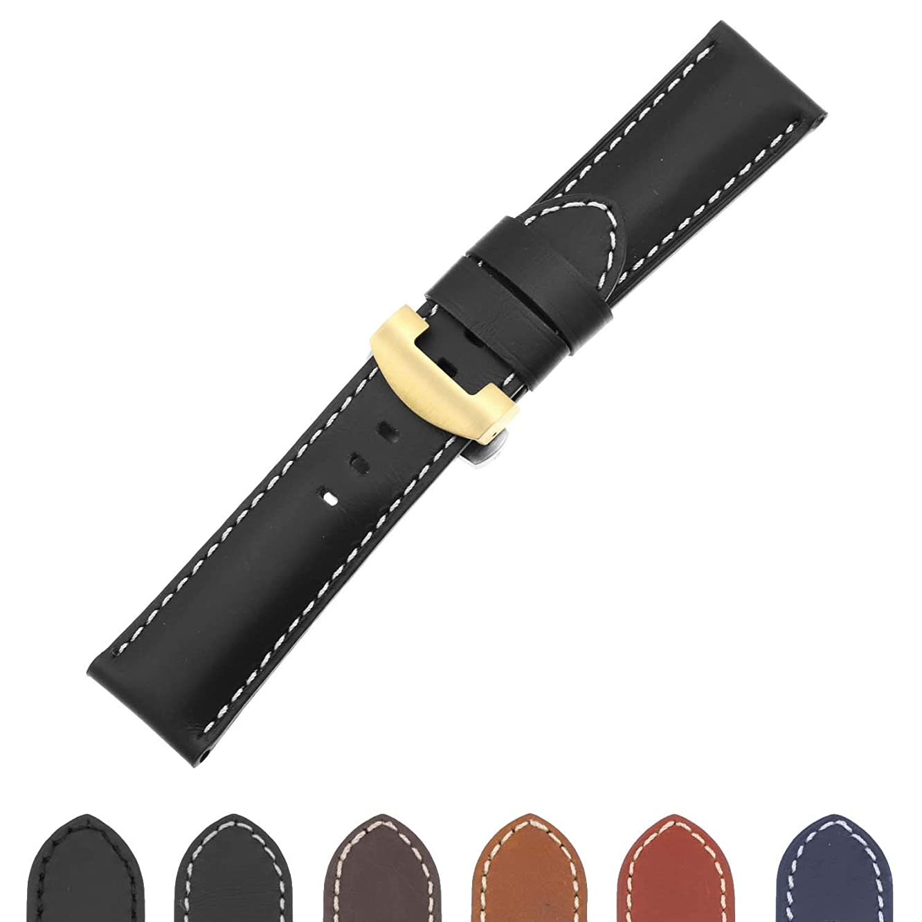 DASSARI Smooth Leather Men's Watch Band Strap with Yellow Gold Deployant Deployment Clasp for Panerai - 22mm 24mm 26mm